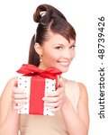 happy woman with gift box over... | Shutterstock . vector #48739426
