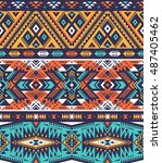 retro colors tribal vector... | Shutterstock .eps vector #487405462