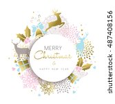 merry christmas happy new year... | Shutterstock .eps vector #487408156