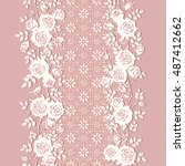 seamless lace pattern with... | Shutterstock .eps vector #487412662