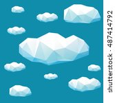 clouds in geometric polygonal... | Shutterstock .eps vector #487414792