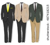 man suit. clothes collection.... | Shutterstock .eps vector #487418215