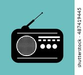 radio news black icon graphic | Shutterstock .eps vector #487419445