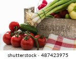 fresh organic vegetables from... | Shutterstock . vector #487423975