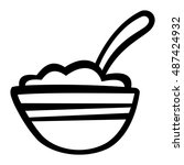 bowl of cereal vector icon | Shutterstock .eps vector #487424932