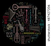 musical instruments isolated on ... | Shutterstock .eps vector #487427206