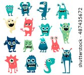 cartoon monsters big set.... | Shutterstock . vector #487435672