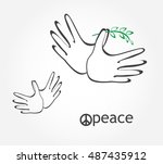 hands together making dove icon ... | Shutterstock .eps vector #487435912