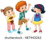 boy bullying other kids... | Shutterstock .eps vector #487443262