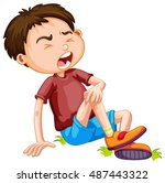 boy hurting from accident... | Shutterstock .eps vector #487443322