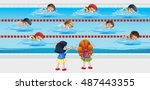 kids practice swimming in the... | Shutterstock .eps vector #487443355