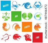 illustration of colorful zodiac ... | Shutterstock . vector #487446472
