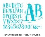 font pencil vintage hand drawn... | Shutterstock . vector #487449256