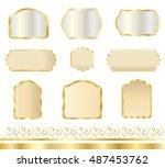 frame. set gold frames  labels  ...   Shutterstock .eps vector #487453762