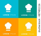 chef hat four color material...   Shutterstock .eps vector #487481116