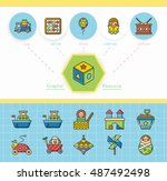 icon set toy vector | Shutterstock .eps vector #487492498