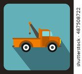 car towing truck icon in flat... | Shutterstock .eps vector #487508722