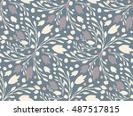 organic floral pattern in muted ... | Shutterstock . vector #487517815