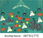 happy halloween flyer design ... | Shutterstock .eps vector #487521775