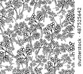floral seamless pattern  sketch ... | Shutterstock .eps vector #487525642
