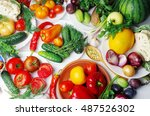 colorful vegetables on the table | Shutterstock . vector #487526302
