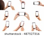set of female hands holding... | Shutterstock . vector #487527316