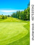 golf course and a red flag in a ... | Shutterstock . vector #487535542