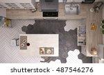 scandinavian kitchen  top view  ... | Shutterstock . vector #487546276