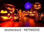 halloween pumpkins at night... | Shutterstock . vector #487560232
