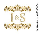 i and s vintage initials logo... | Shutterstock .eps vector #487560856