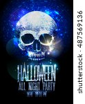 fashion halloween party poster... | Shutterstock .eps vector #487569136