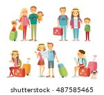 people and family traveling on... | Shutterstock .eps vector #487585465