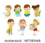 cute children reading books | Shutterstock .eps vector #487585468