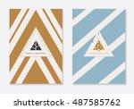 modern minimal christmas theme... | Shutterstock .eps vector #487585762