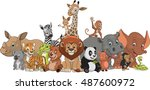 Stock vector vector illustration set of funny exotic animals 487600972