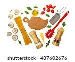 ingredients for pasta ... | Shutterstock . vector #487602676