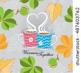 the leaves and the cup. autumn... | Shutterstock .eps vector #487603762