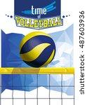 vector volleyball championship... | Shutterstock .eps vector #487603936