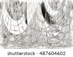 destroyed the old background.... | Shutterstock . vector #487604602