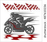 motorcycle racing on the... | Shutterstock .eps vector #487610236