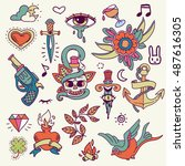 set of traditional color tattoo ... | Shutterstock .eps vector #487616305