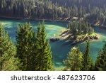 cauma blue lake  switzerland in ... | Shutterstock . vector #487623706