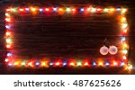christmas light and decorations ... | Shutterstock . vector #487625626