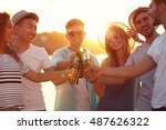group of friends hanging out... | Shutterstock . vector #487626322
