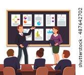 young entrepreneurs presenting... | Shutterstock .eps vector #487642702