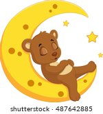 the bear sleep on the moon | Shutterstock .eps vector #487642885
