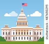 Stock vector white house building with us flag on a blue sky with clouds background washington dc president 487650295