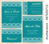 set of wedding cards with... | Shutterstock .eps vector #487650712