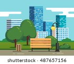 city park with bench with... | Shutterstock .eps vector #487657156