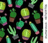cactus plant background... | Shutterstock .eps vector #487659706